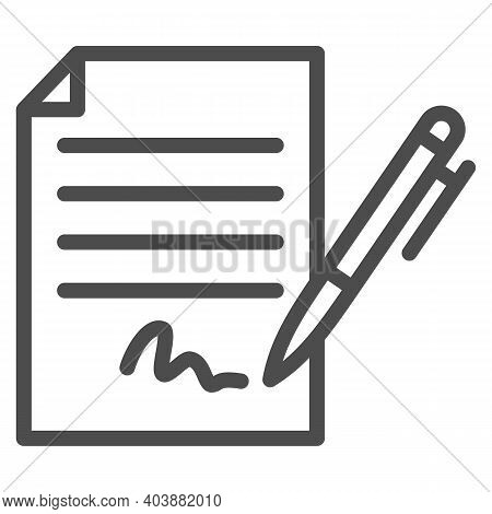 Forged Signature Line Icon, Black Bookkeeping Concept, Fake Contract Sign On White Background, Contr