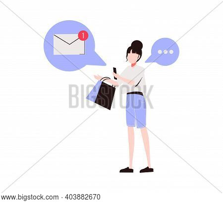 Woman Holding Smartphone And Sending Messages. Concept Of Chatting, Online Messaging, Application Fo