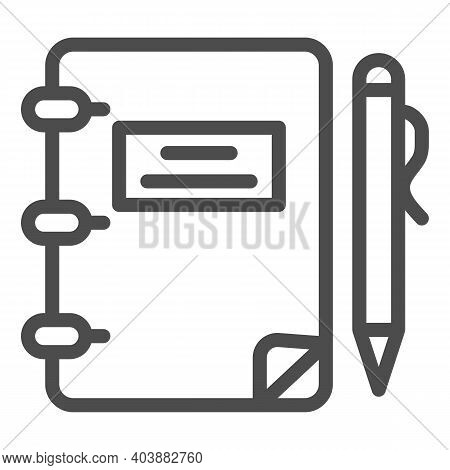 Notebook And Pen Line Icon, Education Concept, Notebook And Pen Sign On White Background, Notebook A