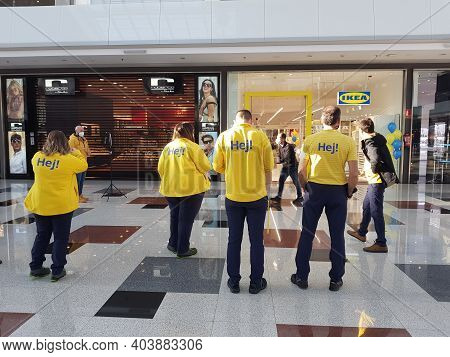 Granada, Andalusia, Spain 18th January, 2021 : Ikea Workers Preparing The Opening Ceremony Of The Ne