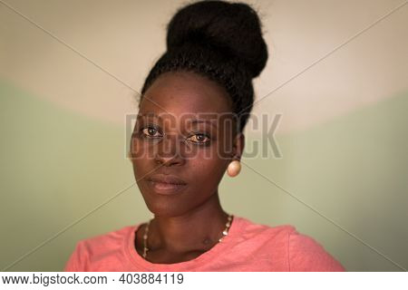 Young Candid Black African Woman Portrait In Indoors