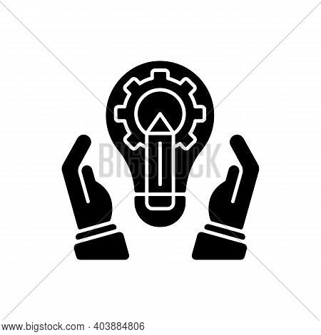 Development Department Black Glyph Icon. Marketing Tactic. Developing New Services And Products. Bra