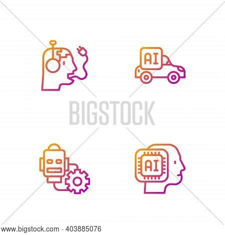 Set Line Humanoid Robot, Robot Setting, Charging Battery And Autonomous Smart Car. Gradient Color Ic