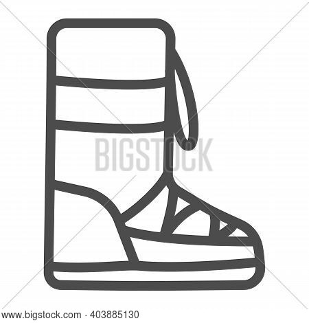 Fuzzy Winter Boot Line Icon, Winter Clothes Concept, Warm Shoes Sign On White Background, Winter Foo