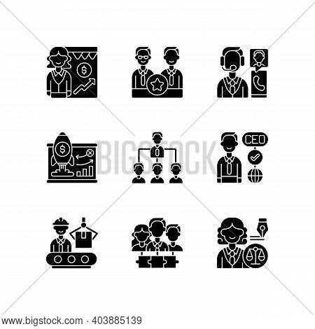 Corporate Hierarchy Black Glyph Icons Set On White Space. Sales Department. Executive Staff. Custome