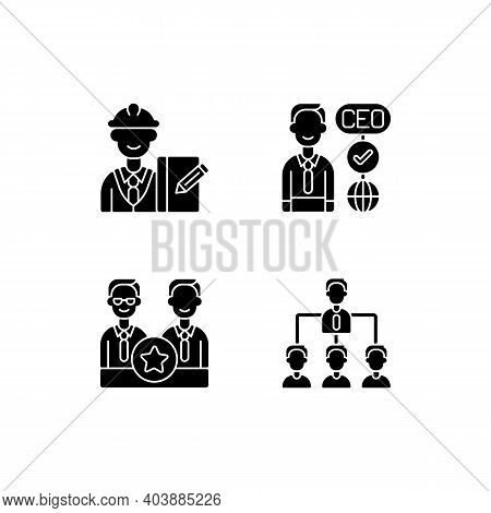 Organization Hierarchy Black Glyph Icons Set On White Space. Supervisor. Ceo. Directors Board. Hiera