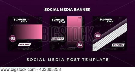 Set Of Social Media Post Design With Purple Color. Good Template For Social Media Marketing Design.