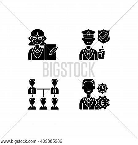 Corporation Hierarchy Black Glyph Icons Set On White Space. Secretary. Service Staff. Organic Compan