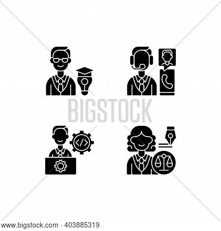 Management Structure Black Glyph Icons Set On White Space. Educational Management. Customer Service