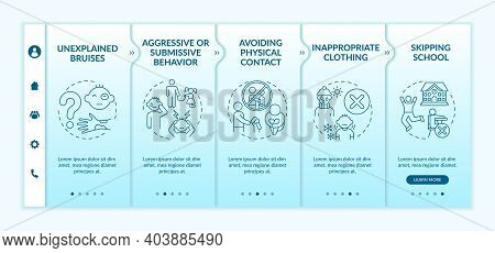 Physical Abuse Sign Onboarding Vector Template. Child Safety. Sexual Assault Victim. Harassed Kid. R