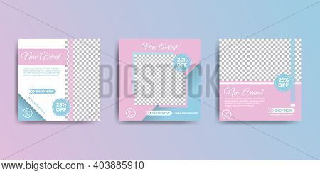 Set Of Feminine Social Media Post Design. Good Template For Social Media Marketing Design.