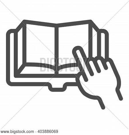 Open Book With Hand Pointing Line Icon, Education Concept, Finger Point At Book Sign On White Backgr
