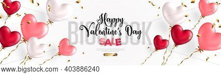Valentine Day Background With Festive Realistic Heart Shape Balloons With Golden Spiral Ribbons. Vec