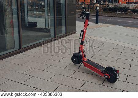 Birmingham, Uk - January 17, 2021: Voi Rental Electric Scooter On A Street In Birmingham, Uk. The E-