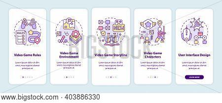 Video Game Design Components Onboarding Mobile App Page Screen With Concepts. Video Game Rules Walkt