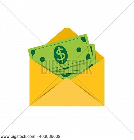 Money Dollars In A Yellow Envelope. Sending Money By Mail, Sending Money Online. Isolation Icon On W