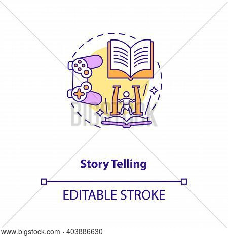 Story Telling Concept Icon. Game Design Industry Benefits. Activity Of Sharing Stories. Creativity I
