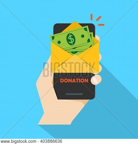 Money Messages On A Smartphone, Money Sending Dollars, A Hand With A Smartphone, Notifications Of Th