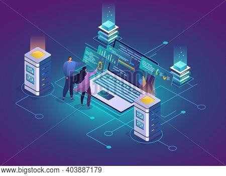 Website Hosting Abstract 3d Isometric Vector Illustration. System Administrators, Data Center Engine