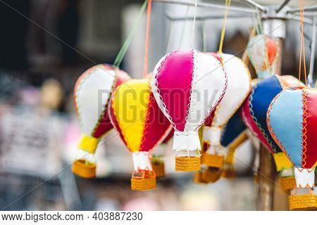 Handmade souvenirs in form of balloons selling on market in Turkey