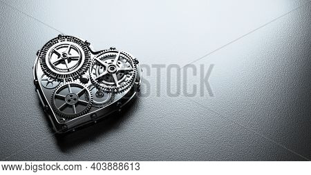 Heart shape clockwork. Gears and cogs mechanism. Industrial style Valentine's Day. Close-up, detailed. 3D illustration