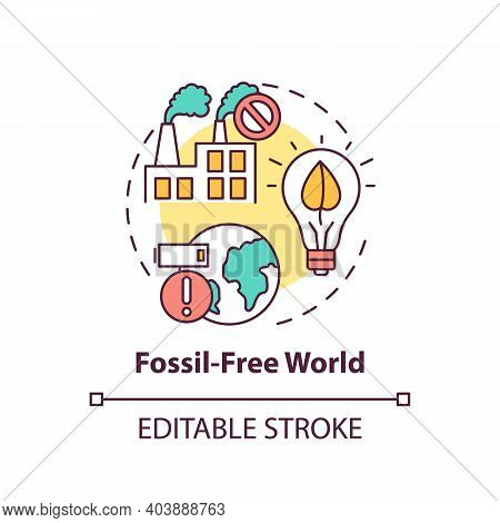 Fossil-free World Concept Icon. Climate Change Thin Line Illustration. Vector Isolated Outline Rgb C