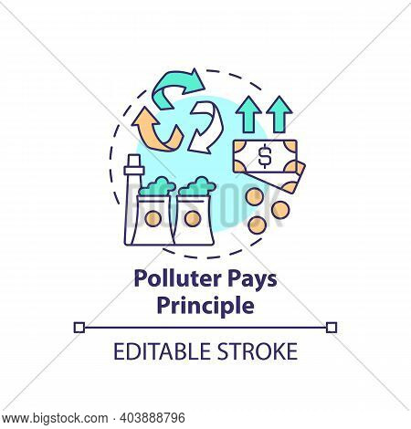 Polluter Pays Principle Concept Icon. Environmental Legislation Idea Thin Line Illustration. Climate