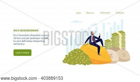 Vector Landing Page Template With Financially Successful Rich Businessman.