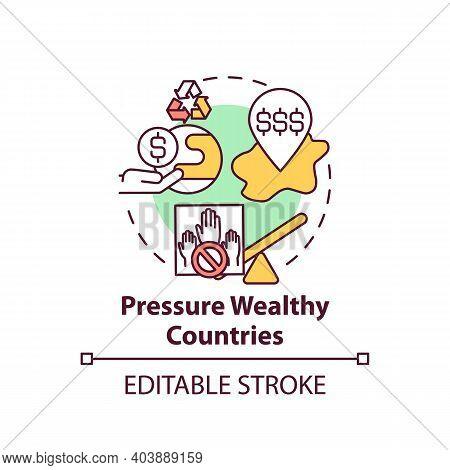 Pressure Wealthy Country Concept Icon. Financial Pressure Idea Thin Line Illustration. Environmental