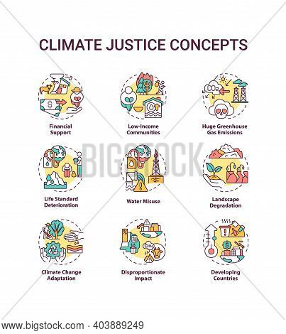 Climate Justice Concept Icons Set. Environmental Protection Idea Thin Line Rgb Color Illustrations.
