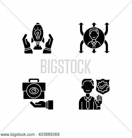 Company Mission Black Glyph Icons Set On White Space. Innovation, Project Development. Flexibility,