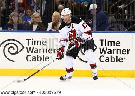 NEW YORK-APR 27: New Jersey Devils right wing Ilya Kovalchuk (17) looks to pass the puck against the New York Rangers  at Madison Square Garden on April 27, 2013 in New York City.