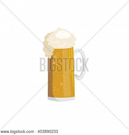 Glass Mug Of Golden Frothing Beer Cartoon Flat Vector Illustration Isolated.