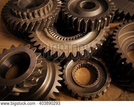 Close-up of old metal cog wheels