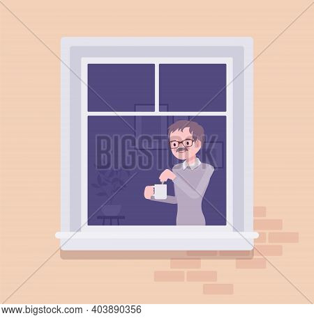 Window With Young Man Brewing Tea In A Mug Behind. Homebody Person Spending Time Staying Home To Enj
