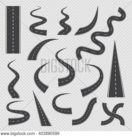 A Set Of Vector Isolated Icons Winding, Crossroads Highways And Roads.