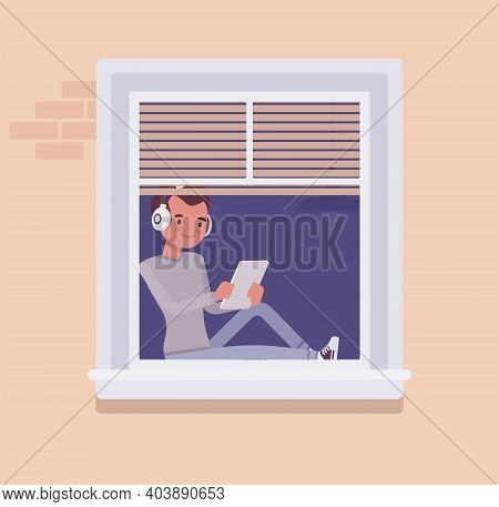 Window With A Young Man Sitting Behind With Tablet. Homebody Person Spending Time Staying Home To En
