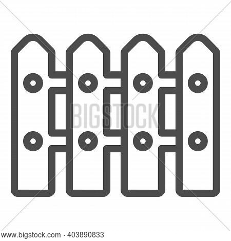 Fence Line Icon, Farm Garden Concept, Garden Gate Sign On White Background, Rural Fence Icon In Outl
