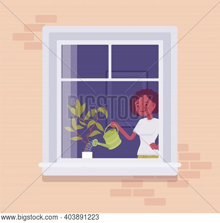 Window With A Young Woman Watering Home Plant Behind. Homebody Person Spending Time Staying Home To