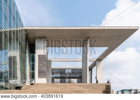 Berlin, Germany - July 30, 2019: Contemporary Architecture Building. Concrete Facade In Marie-elisab