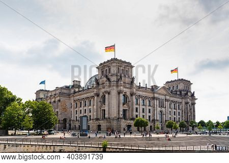 Berlin, Germany - July 30, 2019: Panoramic View Of Famous Reichstag Building, Seat Of The German Par