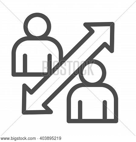 Two Person Avatars And Two-way Arrow Line Icon, Social Distancing Concept, Sickness Prevention Sign