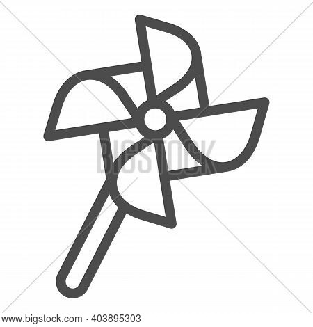 Windmill Toy Line Icon, Kid Toys Concept, Vane Paper Toy Sign On White Background, Pinwheel Icon In