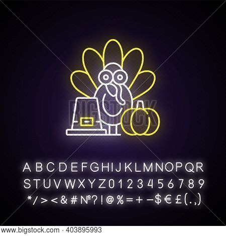 Thanksgiving Neon Light Icon. Festive Occasion. Traditional Family Party. Seasonal Gathering. Outer