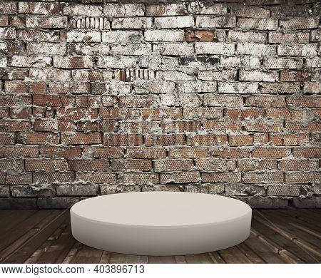 podium on floor, old interior with brick wall