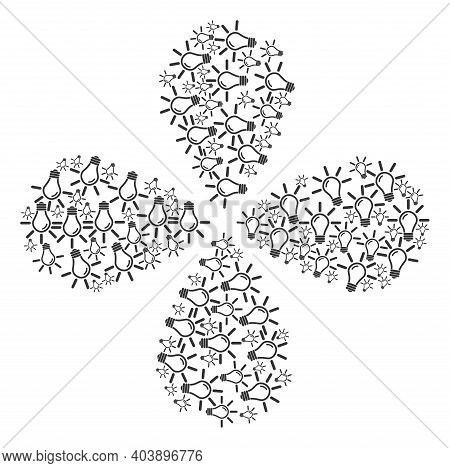 Light Bulb Centrifugal Flower Cluster. Element Cycle Created From Oriented Light Bulb Symbols. Vecto