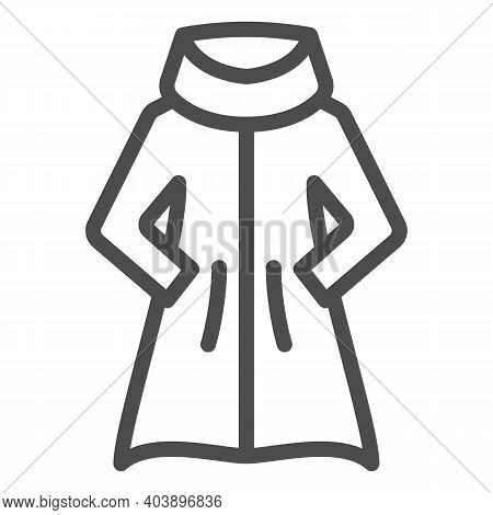 Women Coat With Warm Collar Line Icon, Winter Clothes Concept, Fur Coat Sign On White Background, Sh