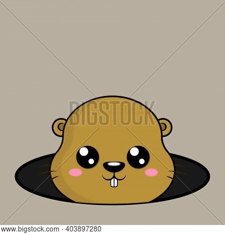 Cute Cartoon Groundhog Looking From Hole In Ground. Groundhog Day. Spring. Vector Illustration.