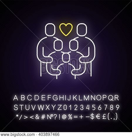 Family Reunion Neon Light Icon. Relatives Social Gathering. Parents Celebrate With Children. Outer G