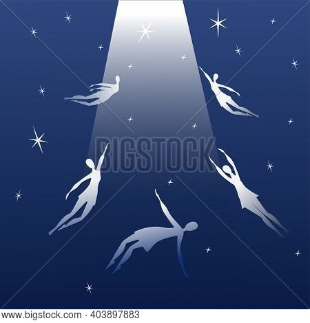 Souls Fly To Heaven. Soul Ascension In Heavenly Light. Vector Illustration